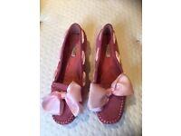Pink suede mocassins size 5.5/38.5 eu