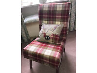 Newly upholstered chair in Fernie Moon Fabric with beautiful Highland Coo cushion