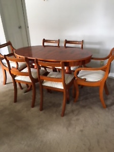 Unique Regency style Dining Table and 6 chairs