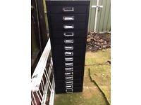 Black metal office drawers