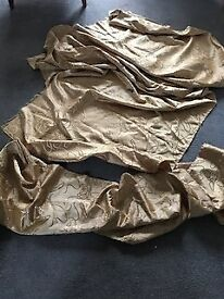 Two pieces of gold polyester damask