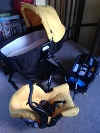 Graco Snugsafe car seat, Isofix base, Evo Carrycot and Evo Stand