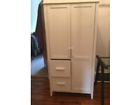 White nursery furniture consisting of wardrobe and drawers, as new, £100