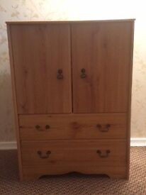 Pine Effect Cupboard and Drawer Unit