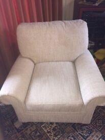 Beige hardwearing pair of armchairs