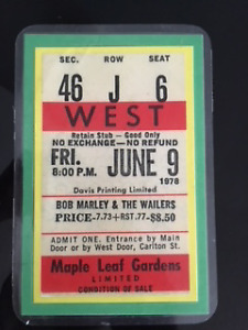 Bob Marley & The Wailers Memorabilia - 1978 concert ticket