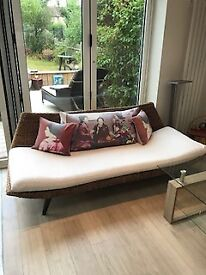 Habitat rattan sofas, two for sale , prefer to sell as a pair, with Liberty cushions...