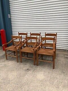 SET OF 6 ANTIQUE COUNTRY DINING ARMCHAIR CHAIRS BELIEVED TO BE EARLY E.A. CLORE