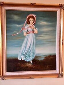 "Oil Painting ""Girl in a Blue Dress"" by Artist Don Austen"