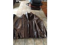 Gents Brown Leather Bomber Jacket