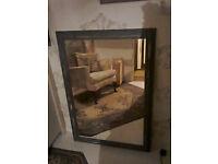 large solid pine paris grey mirror