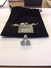 Brilliant Cut Clear Sapphire 10K white Gold Filled Earrings