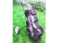 golf set, bag, trolley, clubs and accessories