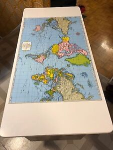 School Desk with World Map
