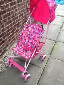 Mothercare Pink stroller with rain hood for sale