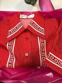Size 8-10 Ladies Vintage Shirt in Pillar Box Red/White