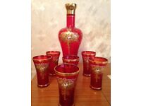 Venetian Decanter & 6 Glasses