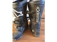 ALPINESTARS tech motorbike boots black, size 9 1/2 good condition