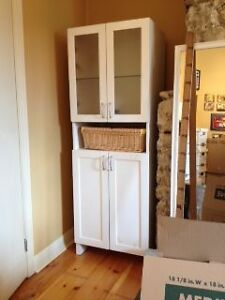 white storage cabinet with doors and self