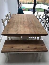 Rustic wooden table, 4x chairs and 2 seater bench for sale. £400 ono