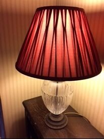 Laura Ashley Glass and Brass Lamp Base and Burgundy Silk Shade £35
