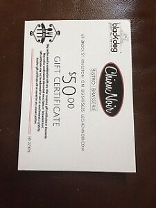 Gift certificates for two chic restaurants