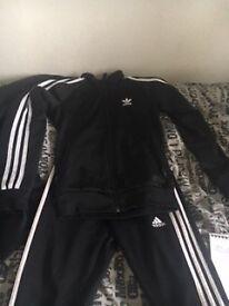 Boys Adidas Black & White Tracksuit (Size YM)