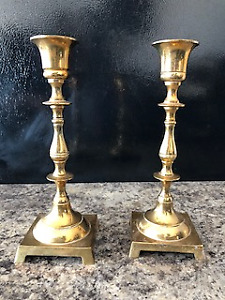 Candle Stick Holders Solid Brass, Square and Round Bases