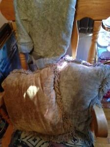 2 Chenille Pillows and Matching Soft Grey Chenille Throw