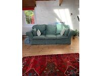 Stylish, shabby, green damask 3 seater sofa- removable covers