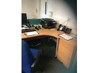 Curved office desk & pedestal draws