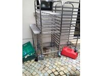 Bakery racks - mobile stacking racks and an infill stainless steel table