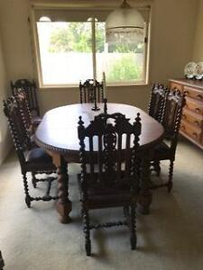 Antique Jacobean dining setting - adjustable table & 8 chairs The Gap Brisbane North West Preview