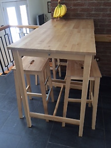 2 IKEA high tables and 4 stools in excellent condition I sell,