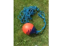 Orange buoy with long length of rope collect from Aberaeron or Ammanford