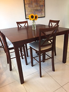 Beautiful Wooden Extendable Dining Table and Four Chairs - $400