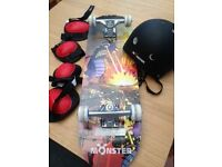 Monster skateboard, helmet and pads (age for 6+)