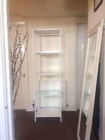2 identical Ikea shelving units (white: metal and glass)
