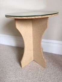 PAIR SIDE TABLES - MDF with glass