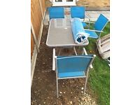 Garden Table + 4 chairs + Umbrella