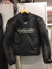 Mens Arlen Ness 2 Piece Black Motorcycle Leathers
