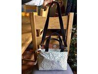 Authentic Kipling Medium Bag In Cream and Black Polka Dot Design