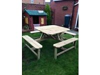 garden beer table 8 seater HAND MADE RAW SOLID TREATED TIMBER
