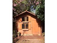 Wooden Playhouse - 2m (w) x 1.5m (d) x 2m (h) - good condition, internal ladder & split level