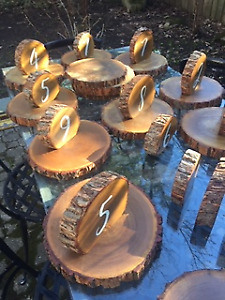 Event table numbers and  finished solid hardwood wood discs