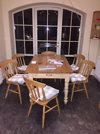 Six solid beech dining chairs with seat pads (optional)