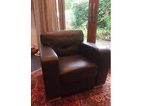 Large, soft, leather armchair