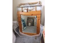 Solid Pine wood unsual shaped Mirror