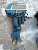 O/B Test stand plus Older evinrude 18hp Fastwin outboard $300