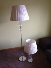 Modern glass standard and table lamp